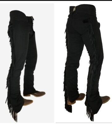 2X Black Ultrasuede Chaps Size Adult