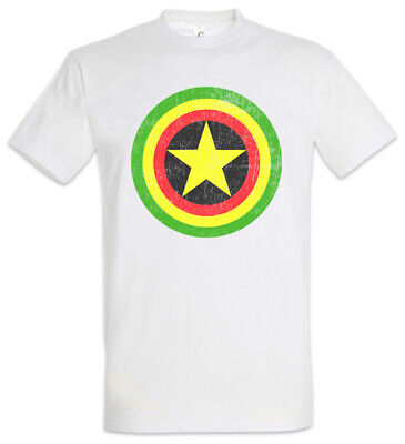 Captain Rasta T-Shirt Fun Comic Bob America Shield Music Reggae Irie Ska Marley