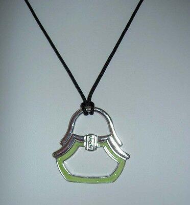 Rosato Italy Sterling Silver Green Enamel Handbag Scarf Ring Pendant Brand