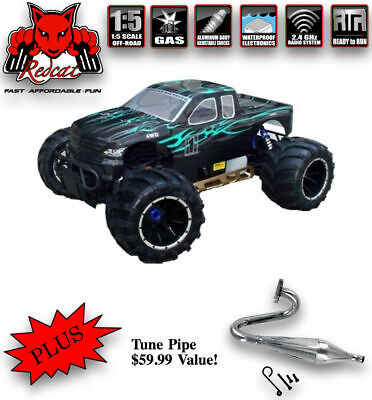 REDCAT RACING RAMPAGE MT V3 1/5 Scale Monster Truck RC Green W/ Tune Pipe Combo