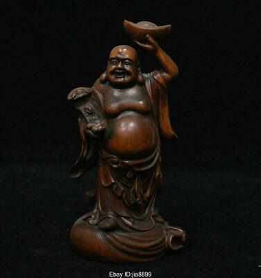 Bronze Happy Buddha with money bag pendant on necklacecof jade and wood beads