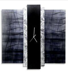Metal Wall Clock  ULTRA MODERN Art Black Silver Grey Decor SIGNED By Jon Allen