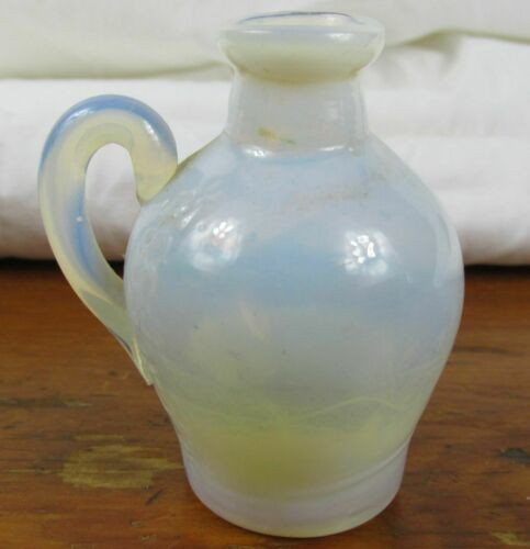 Antique miniature White Opalescent Bottle Hand Blown ASSOC FLOR DE GRASSE