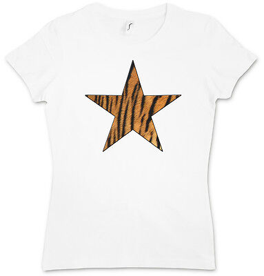 Girly Star Tattoos (TIGER FUR STAR LOGO II GIRLIE SHIRT - Leo Tattoo Rockabella Girl Cat)