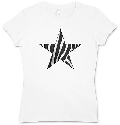 Girly Star Tattoos (ZEBRA FUR STAR LOGO II GIRLIE WOMAN T-SHIRT - Leo Tattoo Rockabella Girl)