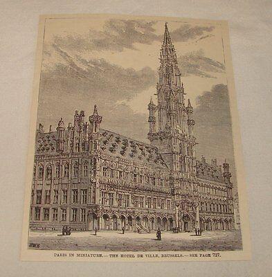 1887 magazine engraving ~ HOTEL DE VILLE, Brussels, Belgium