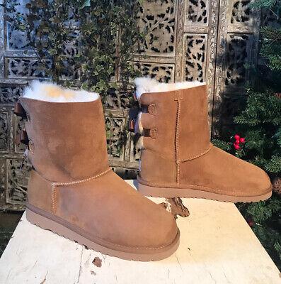 Kids Uggs Bailey Bow 3280Y Chestnut Winter Pull On Sheepskin Boots size 5 NIB