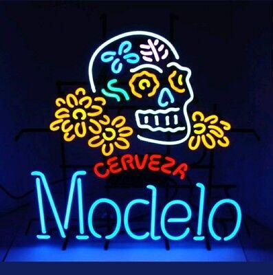 Modelo SUGAR SKULL DIA DE LOS MUERTOS BEER NEON SIGN AUTHENTIC 27X28. RARE! NEW!