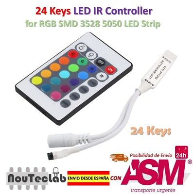 24 Keys LED IR RGB Mini Remote Controller for SMD 3528 5050 LED Strip DC 12V 6A