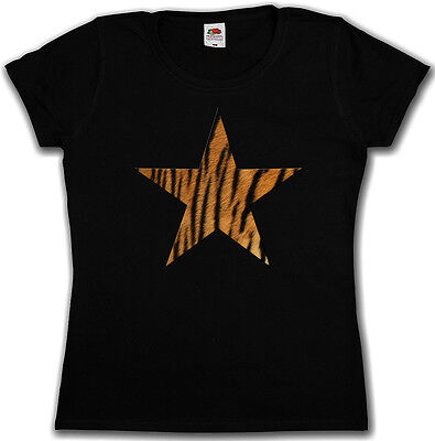 Girly Star Tattoos (TIGER FUR STAR LOGO I GIRLIE SHIRT - Leo Tattoo Rockabella Girl Cat)