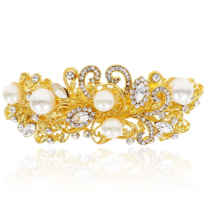 Clear Rhinestone Crystal Pearl Barrette Gold Tone Hair Clip Bridal Party Gift