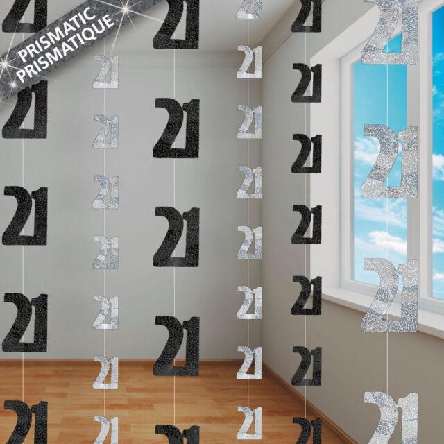 21st BIRTHDAY HANGING DECORATIONS - 6 PACK BLACK & SILVER PRISMATIC FOIL DECOR