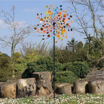 XXL Windrad CONFETTI Metall Windspiel Gartenstecker Garten Terrasse H214 Ø81   C
