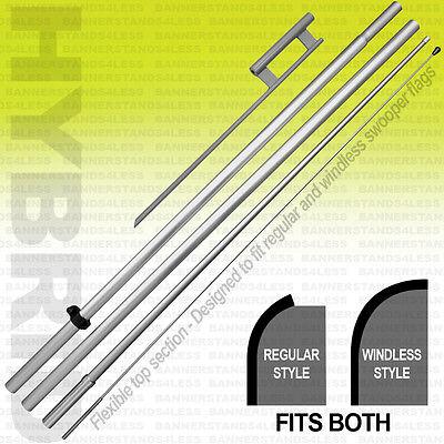 12 Pack - Swooper Flag Pole Spike 15 Universal Hybrid Kit Set