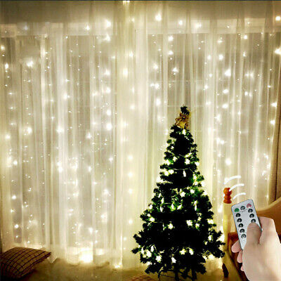 10ftx10ft 300 LED Curtain Twinkle Christmas Lights Party Wedding Outdoor Decor  ()