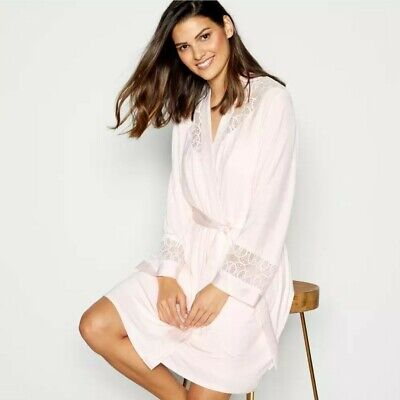 B by TED BAKER Ladies Light Pink Jersey Lace Short Dressing Gown Robe Size 12-14