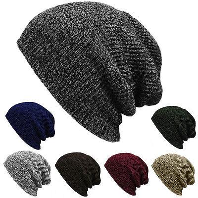 (Plain Beanie Knit Hat Mens Women's Winter Warm Cap Slouchy Solid Skull Hat Cuff)
