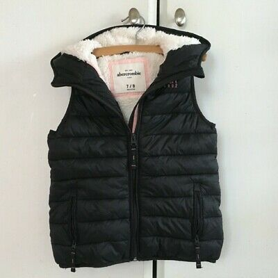 Abercrombie Kids Girls Black Hooded Full Zip Faux Shearling Puffer Vest - Sz 7/8