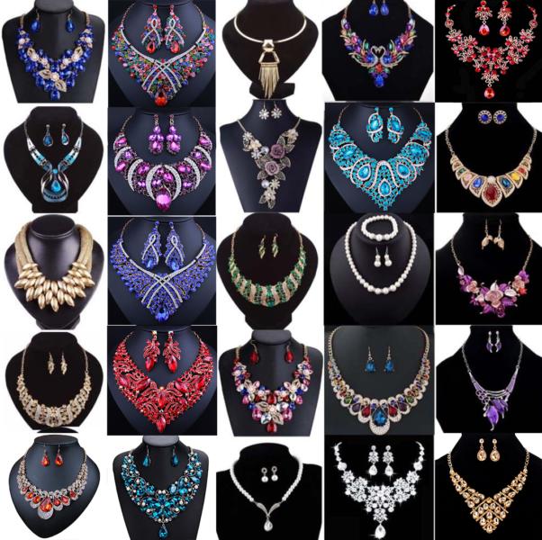 Fashion Crystal Pendant Bib Choker Chain Statement Necklace Earrings Jewelry 1