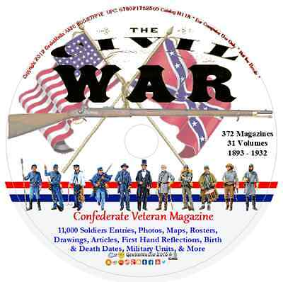 Confederate Veteran Magazine 372 dvd Civil War Soldiers Index Genealogy History