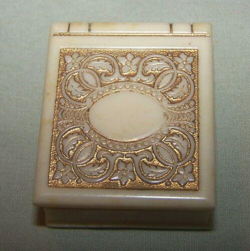 Vintage White Art Deco Ring Box w/Goldtone Decorations-Miller