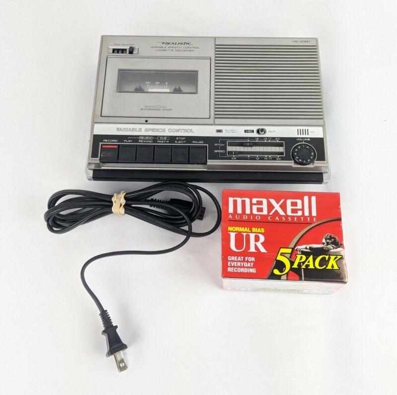 Realistic VSC-2000 Audio Cassette Tape Recorder + Cord + Cassettes TESTED