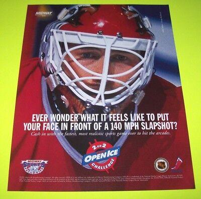 2 On 2 OPEN ICE CHALLENGE 1995 Original NOS Video Arcade Game Flyer Ice Hockey