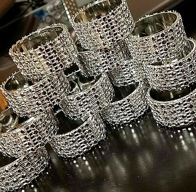 Rhinestone napkin ring 12 pieces . Silver. Best offers only for large - Napkin Ring Holders