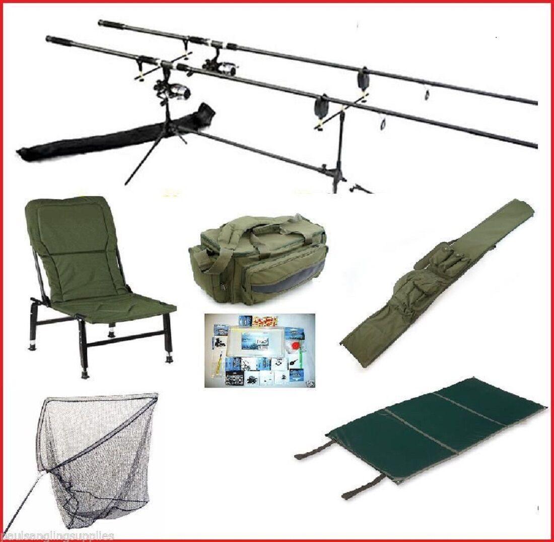 Carp fishing set kit rods reels alarms chair rod pod net for Carp fishing rods