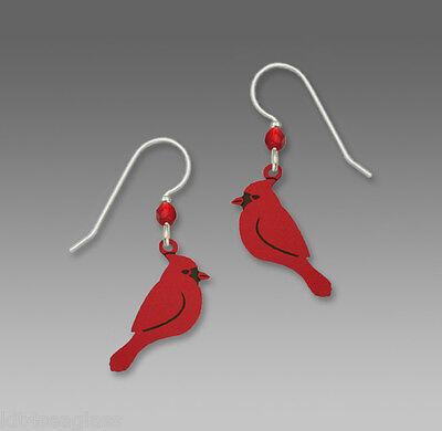 Sienna Sky Red CARDINAL Earrings STERLING Silver Ear Wires Bird Side View + Box