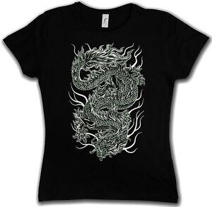 CINESE-Tatuaggio-DRAGON-Girlie-Shirt-Asia-FLASH-OLDSCHOOL-Rockabella-ragazza
