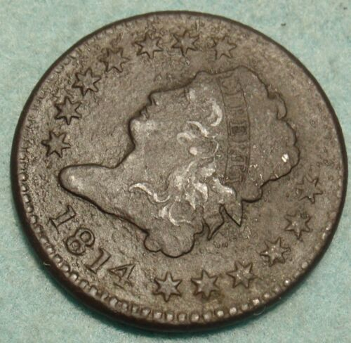 1814 Plain 4 Classic Liberty Large Cent XF/AU Detail - Rare Date (dark)