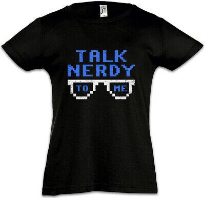 Talk Nerdy To Me Kinder Mädchen T-Shirt Fun Informatiker Brille Programmierer