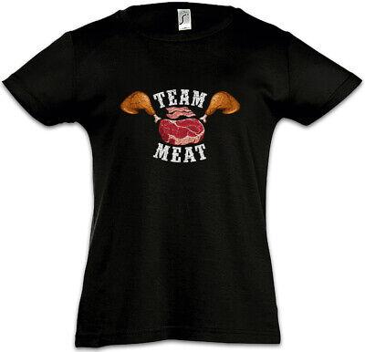 Team Meat Kinder Mädchen T-Shirt Fleisch Fleischesser Anti Vegan Veganer Fun ()