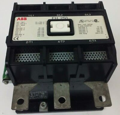 Abb Eh250 Contactor 600v 3ph 300a 75-250h.p. 3p Breaking 250kw Eh New