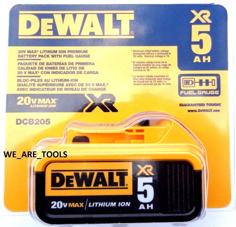 1 NEW IN PACKAGE Genuine Dewalt 20V DCB205 5.0 AH Battery Fo