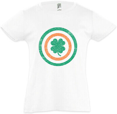 Captain Ireland Kinder Mädchen T-Shirt Flag America Fun Irland Irisch Kleeblatt ()