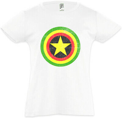Captain Rasta Kinder Mädchen T-Shirt Fun Comic Bob America Shield Reggae Irie ()