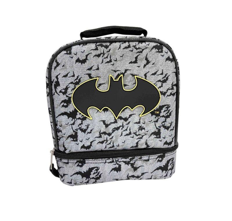 Kids Warner Brothers Batman Dual Compartment Drop Bottom Lunch Bag/Box