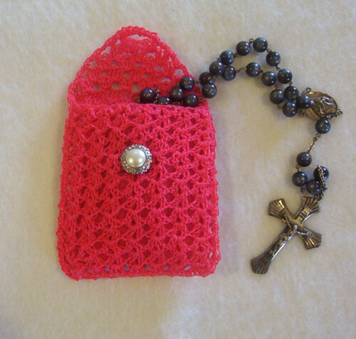 Crochet Watermelon Pink with Dark Pink Lining Buttoned Rosary Jewelry Pouch Case