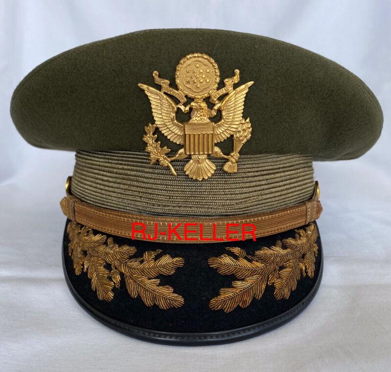 American US Army Military General Officers Field Grade Peaked Visor Hat Cap