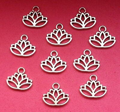 10 x Tibetan Silver Tone Lotus Flower Charms Free UK Postage Jewellery Making