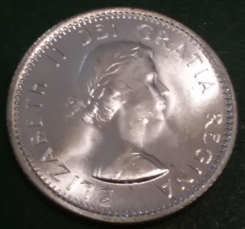 1964 CANADA CANADIAN SILVER DIME ELIZABETH II BRILLIANT UNCIRCULATED BU COIN
