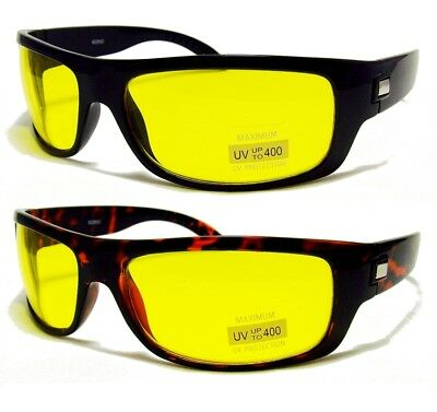 HD High Definition Vision Driving Sunglasses WrapAround Yellow Night Glasses - Yellow Sunglasses