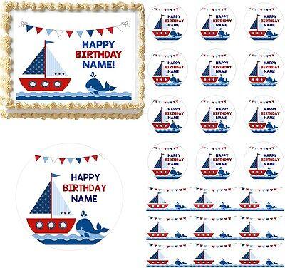 Sailboat Whale Nautical Theme Edible Cake Topper Image Cake Decoration Cupcakes