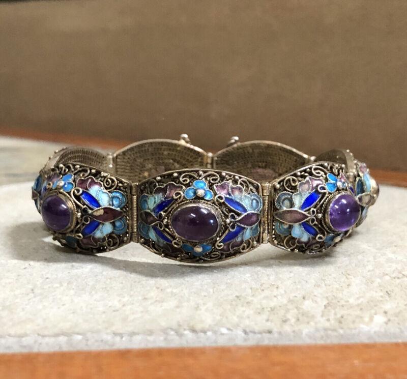 Antique Chinese Export Gold Gilt Silver Enamel Amethyst Link Bangle Bracelet