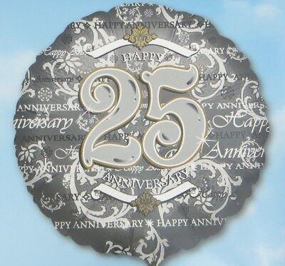 Happy 25th Wedding Anniversary Balloon 18 Inch Silver Gold Classic Anagram New (25th Wedding Anniversary Balloons)