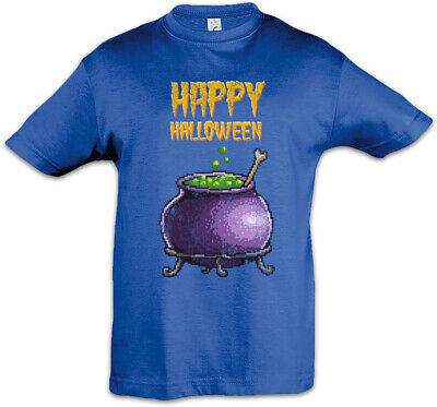 n Kids Boys T-Shirt Gamer Gaming Nerd Fun Witch Pot Kettle (Halloween Pixel)
