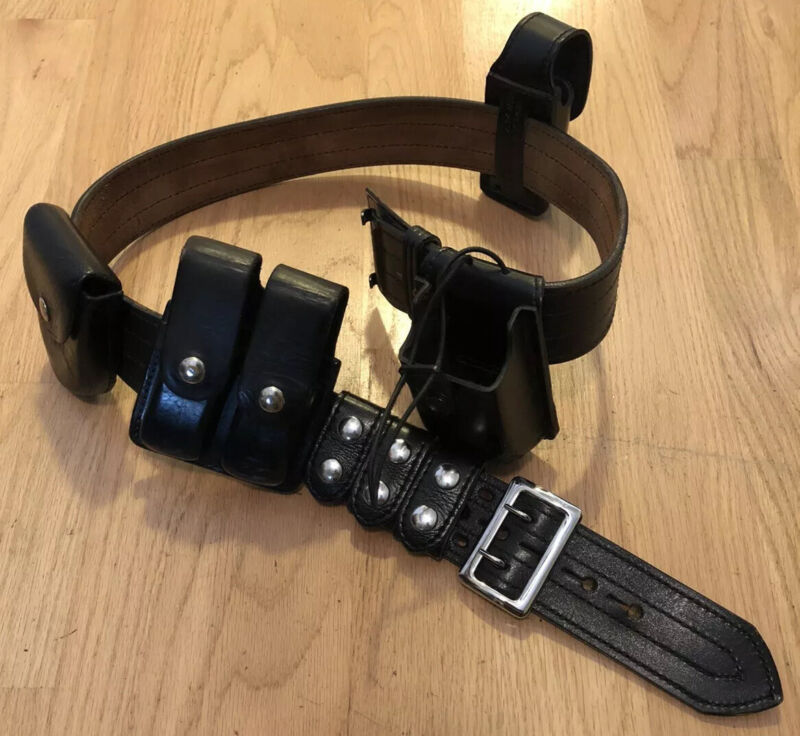 """Genuine Leather Police Duty Belt With Accessories~~52"""" Adjustable~~Extras"""
