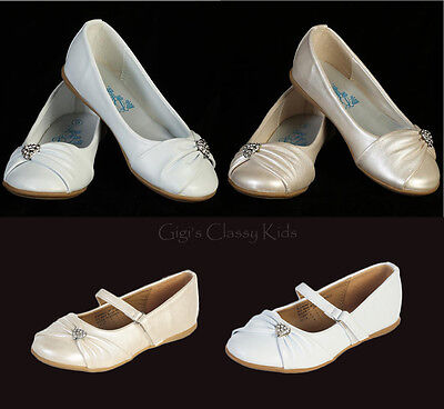 New Toddler Kids Youth Girls Ivory White Dress Shoes Flats Wedding Party - Girls Ivory Flats
